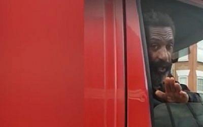 Van driver videoed shouting anti-Semitic abuse at ultra-Orthodox Jew in London's Stamford Hill neighborhood on December 22, 2017. (Screen capture: Ynet)