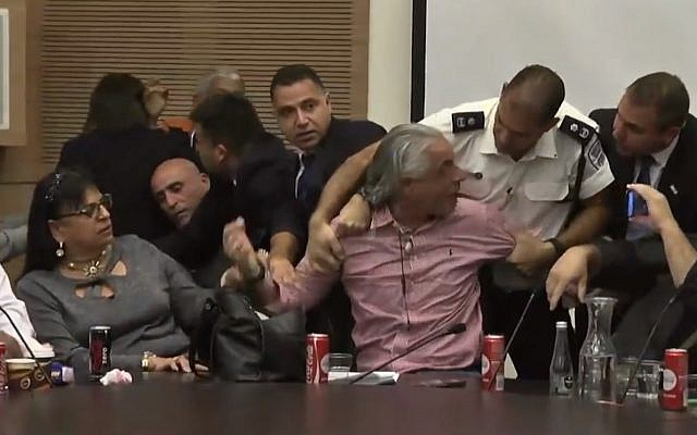 Violence breaks out during a Knesset meeting of the Committee of Labor, Welfare and Health, December 5, 2017. (Screen capture: Ynet)