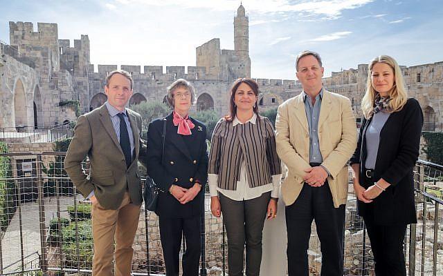From left: Viscount Allenby of Megiddo and Felixstowe, Sara Viscountess Allenby, Tower of David Museum director Eilat Lieber, Mr. John Benson, and Mrs. Christina Benson at The Tower of David Museum, December 10, 2017 (Ricky Rachman)