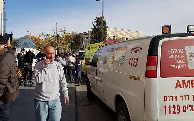 Ambulances arrive at the scene of a suspected terror attack at the Jerusalem Central Bus Station on December 10, 2017. (Magen David Adom)