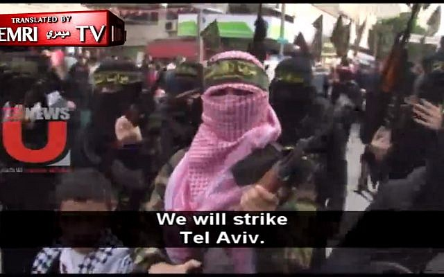 Female fighters from the Al-Quds Brigades, the military wing of the terror group Islamic Jihad in Gaza threaten intifada after US President Donald Trump's recognition of Jerusalem as Israel's capital, December 11, 2017. (Screen capture: MEMRI)