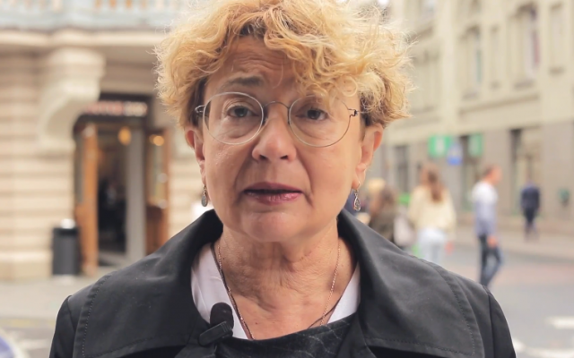 Lithuania Jewish community president Faina Kukliansky. (Screen capture/YouTube)