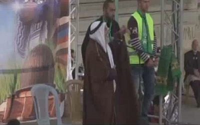 Hamas official Nasouh Al-Ramini at a Nablus rally (MEMRI)