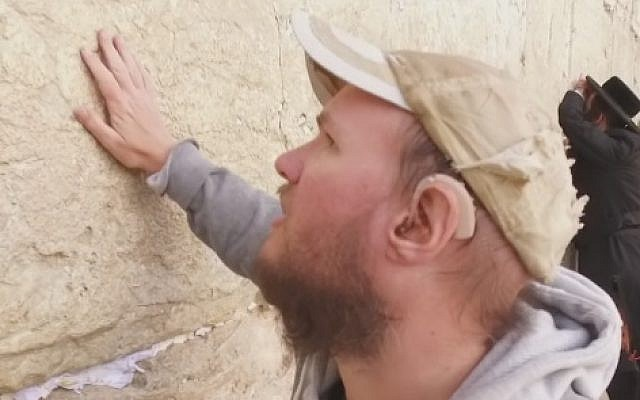 Blind Brit Tony Giles, known as Tony the Traveller, visits Jerusalem's Western Wall (Facebook/BBC)