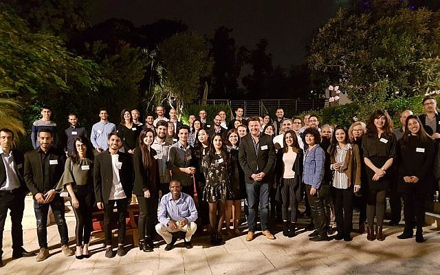 Alumni and participants of Founders & Coders Nazareth branch attend gathering at UK Ambassador David Quarrey's residence, Dec. 20, 2017  (Courtesy)