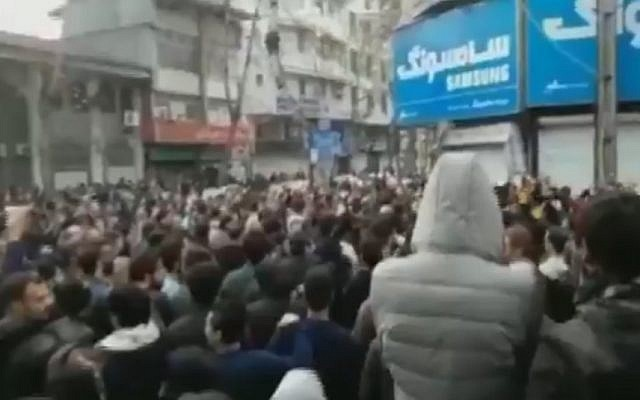 Reported anti-regime protests in the Iranian city of Rasht on December 29, 2017 (Twitter video screen capture)