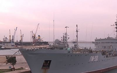 A Russian ship at Syria's port of Tartus (YouTube screenshot)