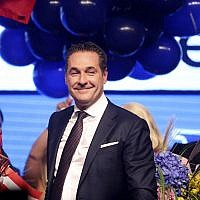 Freedom Party leader Heinz-Christian Strache celebrates at the party's election event following Austrian parliamentary elections in Vienna, Oct. 15, 2017. (Alex Domanski/Getty Images via JTA)