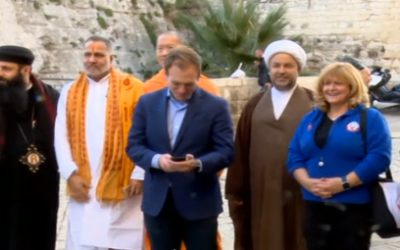 Members of the 'This is Bahrain' group during a visit to Israel in December 2017. (Screen capture: Hadashot TV)