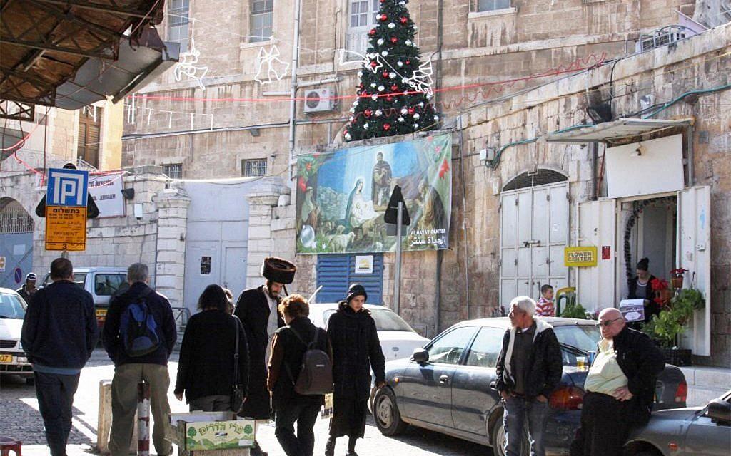 Christmas preparations inside Jerusalem's New Gate. (Shmuel Bar-Am)