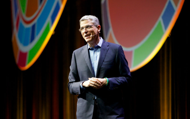 Rabbi Rick Jacobs, president of the Union for Reform Judaism, addressing delegates at its 2017 Biennial in Boston, December 7, 2017. (Courtesy of the Union for Reform Judaism/via JTA)