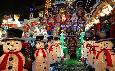 Snow-covered decorations at Dyker Heights, a neighborhood in Brooklyn, NY known for its extravagant displays every Christmas, on December 9, 2017. (iStock)