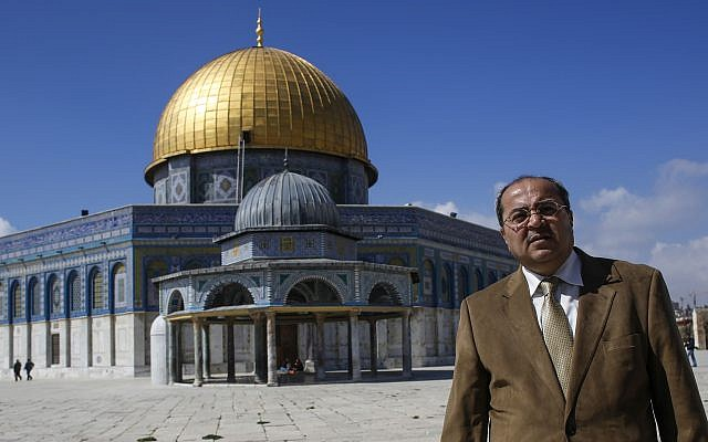 Arab MK Ahmad Tibi is seen atop the Temple Mount in Jerusalem's Old City on February 25, 2014. (Sliman Khader/Flash 90)