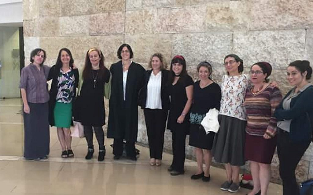 The Beit Shemesh women involved in the court case, pictured in the Supreme Court in Jerusalem on December 4, 2017. (Courtesy Nili Philipp)