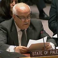 Palestinian envoy to the UN Riyad Mansour at the UN Security Council, December 8, 2017 (United Nations)