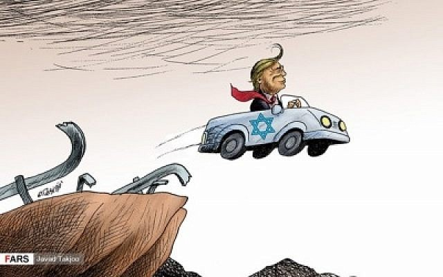 In a cartoon published on December 16 in the Arabic-language edition of Iran's Fars newspaper, US President Donald Trump is depicted driving off a cliff in a car marked with the Star of David, following Trump's recognition of Jerusalem as Israel's capital. (via the Anti-Defamation League)