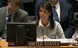 US envoy to the UN Nikki Haley at the UN Security Council, December 8, 2017 (United Nations)