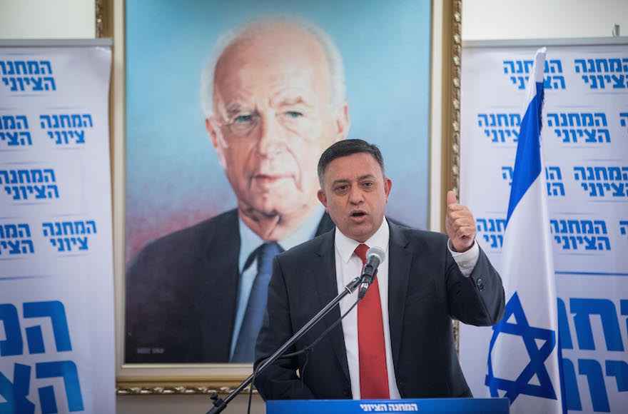 Head of the Labor party Avi Gabbay leads a faction meeting at the Knesset
