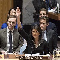Illustrative: US Ambassador to the UN Nikki Haley voting against a Security Council resolution on Jerusalem on December 18, 2017. (Eskinder Debebe/UN)