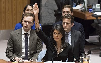 US Ambassador to the UN Nikki Haley voting against a Security Council resolution on Jerusalem on December 18, 2017. (Eskinder Debebe/UN)