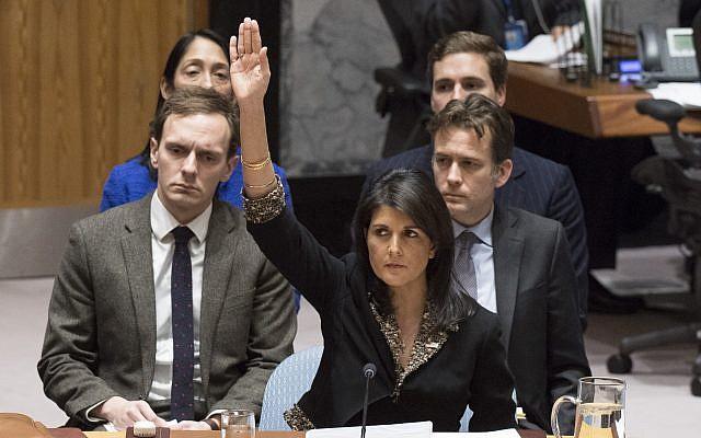 US Ambassador to the UN Nikki Haley voting against a Security Council resolution on Jerusalem on December 18, 2017. (Eskinder Debebe/UN)
