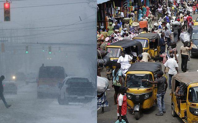 A composite picture of Columbus, Ohio, on a snowy day, left, and a market in Lagos, Nigeria. (AP /Kiichiro Sato and AP/Sunday Alamba)
