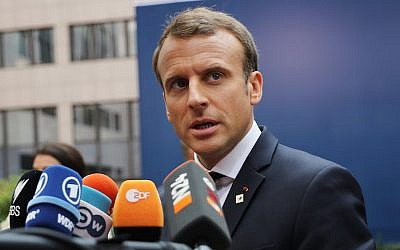 President Emmanuel Macron of France at an EU meeting in Brussels, Oct. 19, 2017. (Dan Kitwood/Getty Images via JTA)