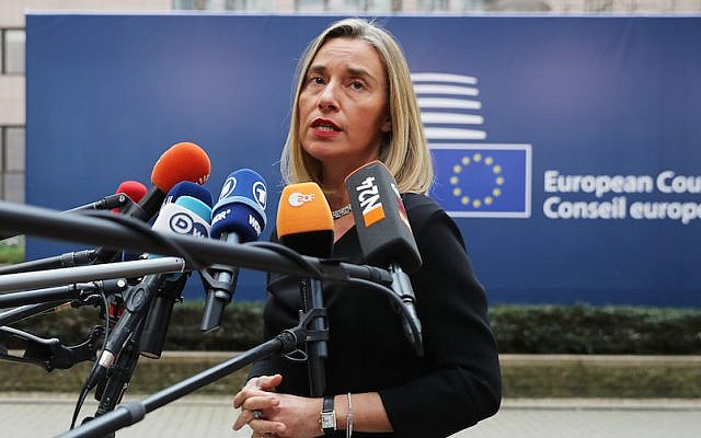 Federica Mogherini, the European Union's foreign policy chief, speaking to reporters in Brussels, Belgium, Oct. 19, 2017. (Dan Kitwood/Getty Images via JTA)