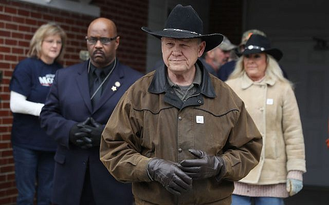 Senate candidate Roy Moore seen after casting his vote in Gallant, Ala., Dec. 12, 2017. (Joe Raedle/Getty Images via JTA)