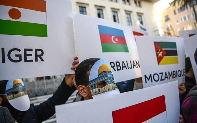Protesters wearing masks featuring Jerusalem's Dome of the Rock Mosque and holding OIC countries flags take part in a protest against the US recognition of Jerusalem as Israel's capital on December 13, 2017  near the venue of Organisation of Islamic Cooperation's Extraordinary Summit in Istanbul.   Turkish President opened in Istanbul an emergency summit of the world's main pan-Islamic body the Organisation of Islamic Cooperation (OIC), seeking to marshal Muslim leaders towards a coordinated response to the US recognition of Jerusalem as Israel's capital. / AFP PHOTO / OZAN KOSE