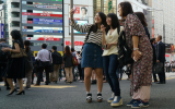 The scene outside Tokyo's Shibuya Station is busy and lively, as seen here on October 3, 2017. (Cnaan Liphshiz/via JTA)