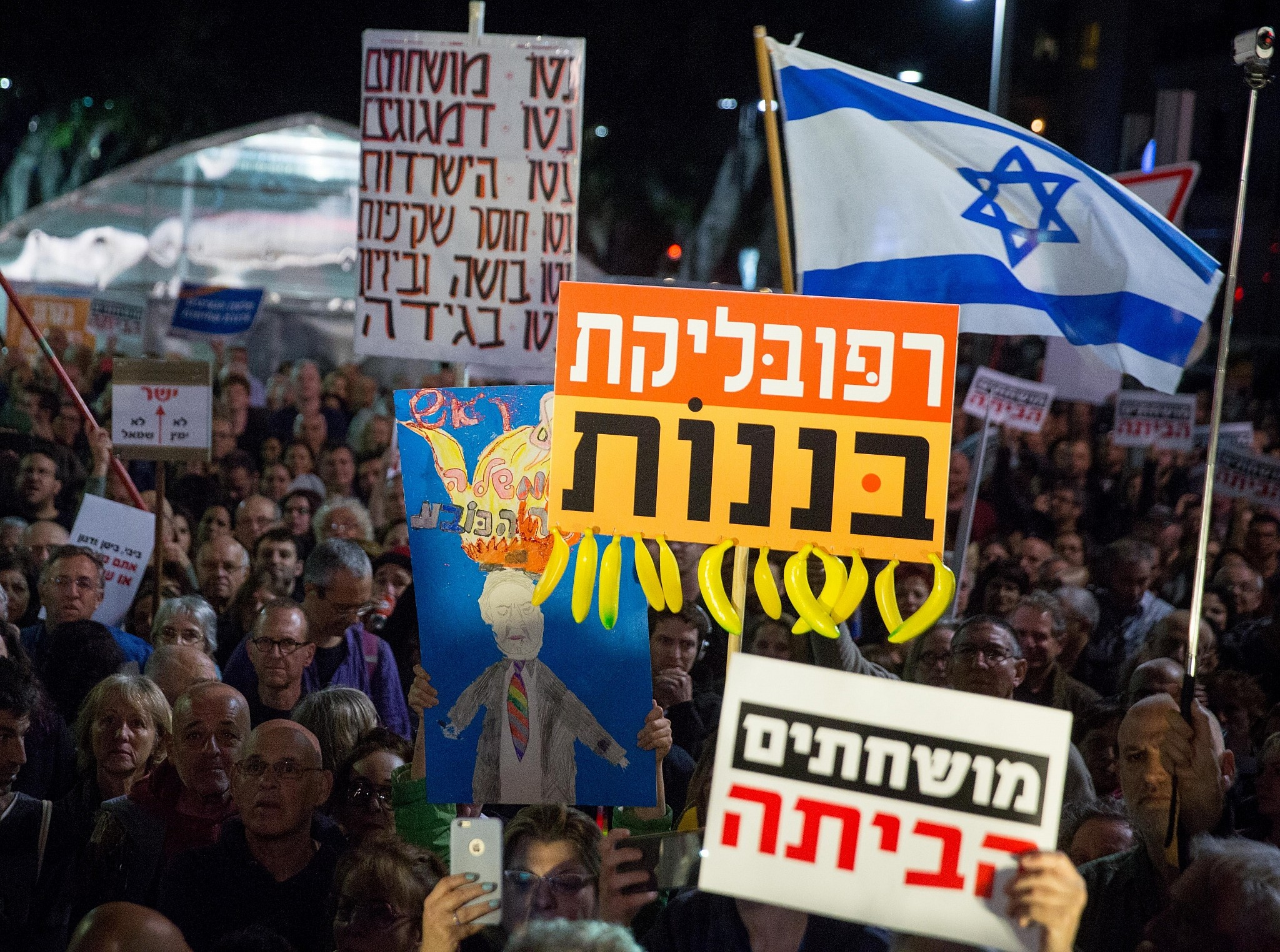 Netanyahu dubbed 'Crime Minister' as thousands protest in Tel Aviv against corruption