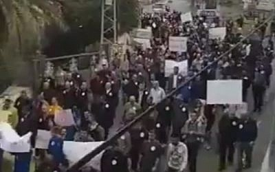 An anti-violence protest in the Druze village of Yarka, Israel, December 30, 2017 (Twitter video screenshot)
