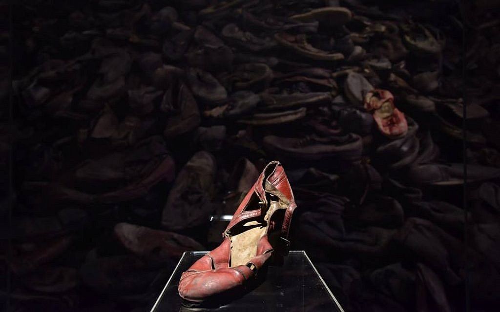 Shoes taken from victims at the Nazi-built death camp Auschwitz-Birkenau, some of which are part of a global tour of artifacts from Auschwitz-Birkenau launched in December 2017 (Courtesy of Musealia)