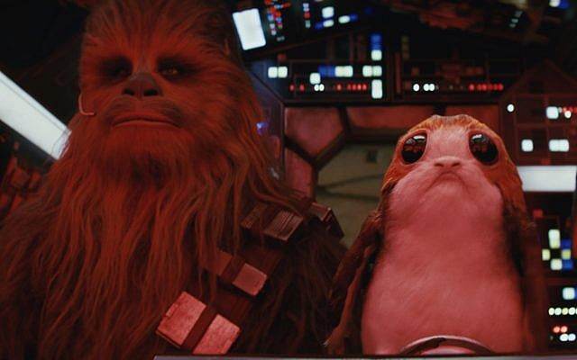 Chewbacca and a porg from 'Star Wars: The Last Jedi.' (Screenshot/Courtesy Walt Disney/Lucasfilms)