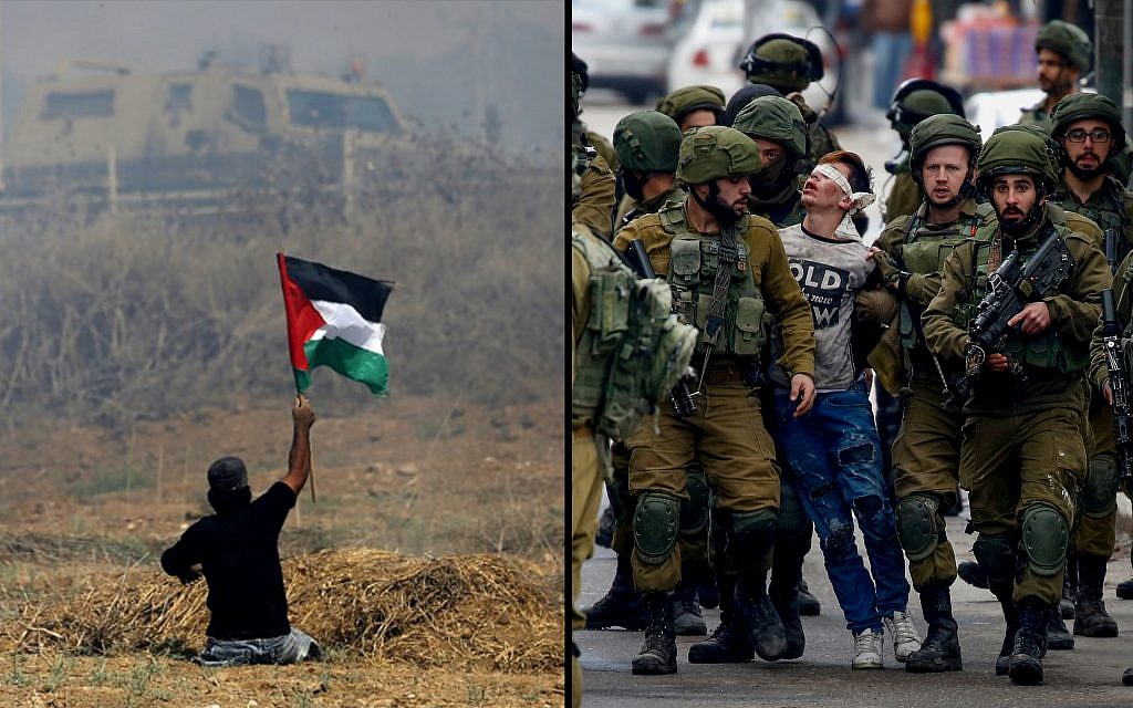 Left: handicapped Palestinian demonstrator Ibrahim Abu Thurayeh during clashes with Israeli soldiers near the border fence east of Gaza City, May 19, 2017. (Mohammed Abed/AFP) Right: 16-year-old Fawzi al-Junaidi is arrested by Israeli soldiers at a protest in Hebron, December 7, 2017. (Wisam Hashlamoun/Flash90)