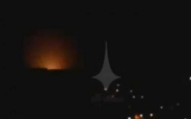 A still from a video reportedly showing an Israeli airstrike near Damascus on December 4, 2017. (screen capture: Twitter)