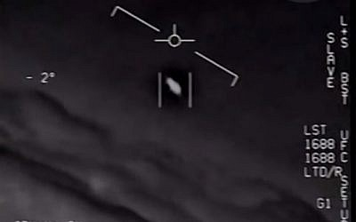 Screen capture from video showing an unidentified flying object that was chased by US Navy pilots in 2014. (YouTube)