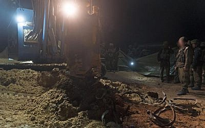 Israeli troops prepare to destroy a Hamas attack tunnel that entered Israeli territory from the Gaza Strip, on December 9, 2017. (Israel Defense Forces)