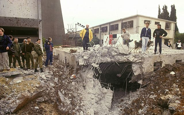 The destruction caused by an Iraqi Scud missile that hit the 'Danny House' in Tel Aviv's Hatikva neighborhood in January 1991. (Bamahane/