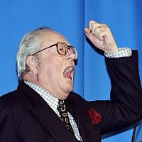 Jean-Marie Le Pen, founder of the French far-right National Front party, gives a speech in Paris on February 17, 1996. (AFP Photo/Pierre Boussel)