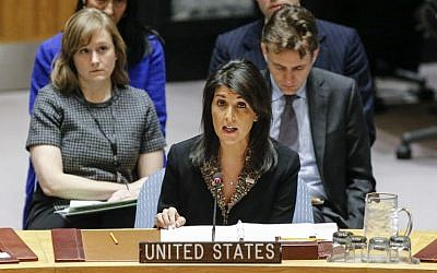 Top PA Negotiator: US Ambassador Nikki Haley Should