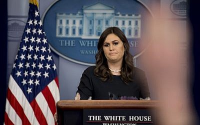 White House Press Secretary Sarah Sanders takes questions during the daily briefing at the White House in Washington, DC, on January 2, 2018. (AFP PHOTO/JIM WATSON)