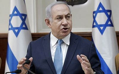 Prime Minister Benjamin Netanyahu speaks during a cabinet meeting in Jerusalem on January 3, 2018.  (AFP/Pool/Tsafrir Abayov)