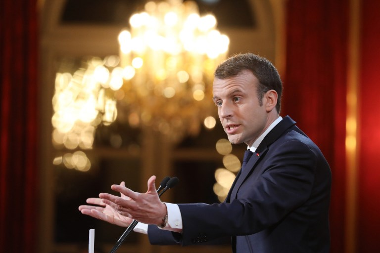 french president emmanuel macron delivers new year wishes to the press at the elysee palace in