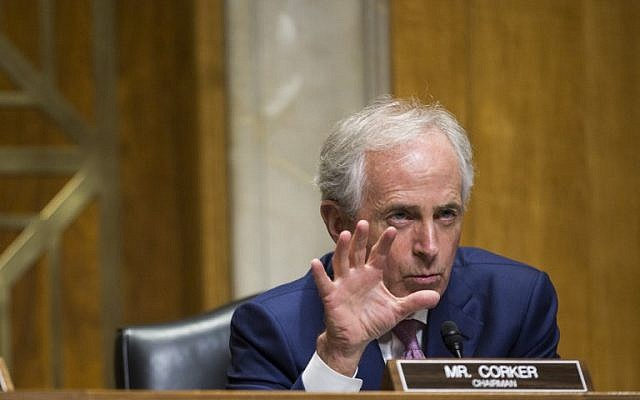 Senate Foreign Relations Committee chairman Sen. Bob Corker (Republican-Tennessee) during a Senate Foreign Relations Committee on Capitol Hill in Washington, DC, February 16, 2017. (ZACH GIBSON/AFP)