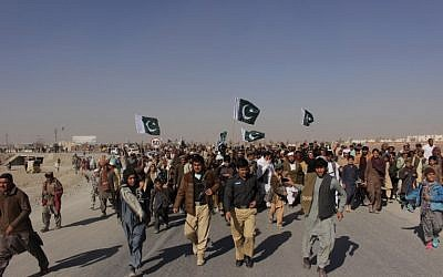 Illustrative: Pakistani demonstrators gathering during a protest against US aid cuts at the Pakistan-Afghanistan border post, in Chaman, on January 5, 2018. (AFP PHOTO / ASGHAR ACHACKZAI)