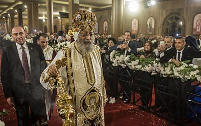 Egypt Coptic Pope Tawadros II leads the Christmas Eve mass at the Nativity of Christ Cathedral in Egypt's new administrative capital, 45km east of Cairo, on January 6, 2018.  (AFP PHOTO / KHALED DESOUKI)