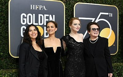 Ffom left, Natalie Portman, America Ferrera,Emma Stone and Billie Jean King arrive for the 75th Golden Globe Awards on January 7, 2018, in Beverly Hills, California. (AFP PHOTO / VALERIE MACON)