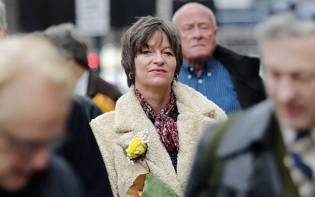 Blogger Alison Chabloz, accused of posting anti-Semitic songs on her site, arrives at Westminster Magistrate's Court in London on January 10, 2018. (AFP/Tolga Akmen)